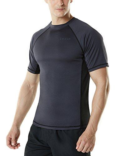 Ms s01 chk small tesla men 39 s upf 50 swimshirt loose fit for Men s uv swim shirt short sleeve